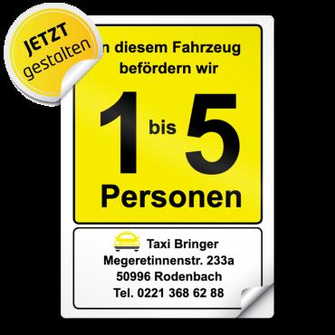 Aufkleber Großraum-Taxi A5